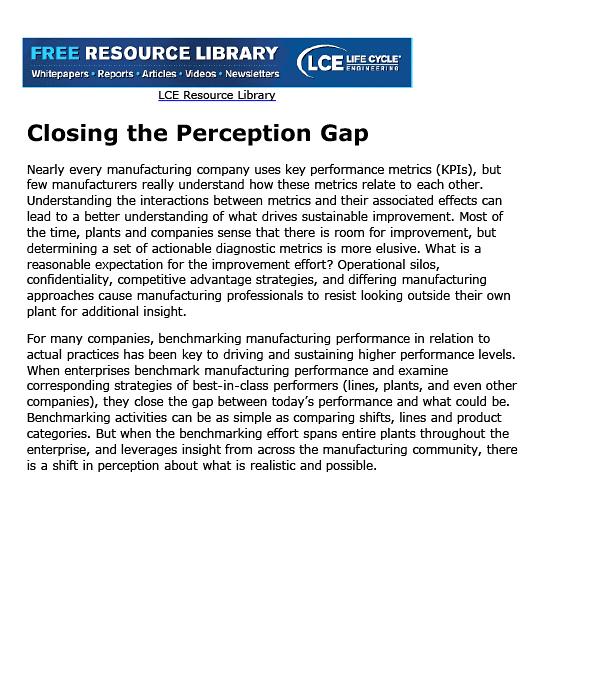 Closing The Perceptin Gap In Benchmarking