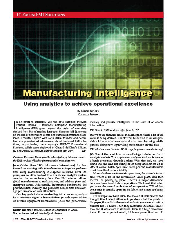Manufacturing Intelligence - Using Analytics