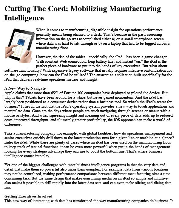 Mobilizing Manufacturing Intelligence